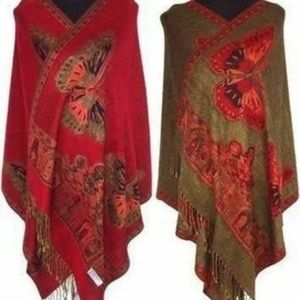 New reversible cashmere red butterfly wrap